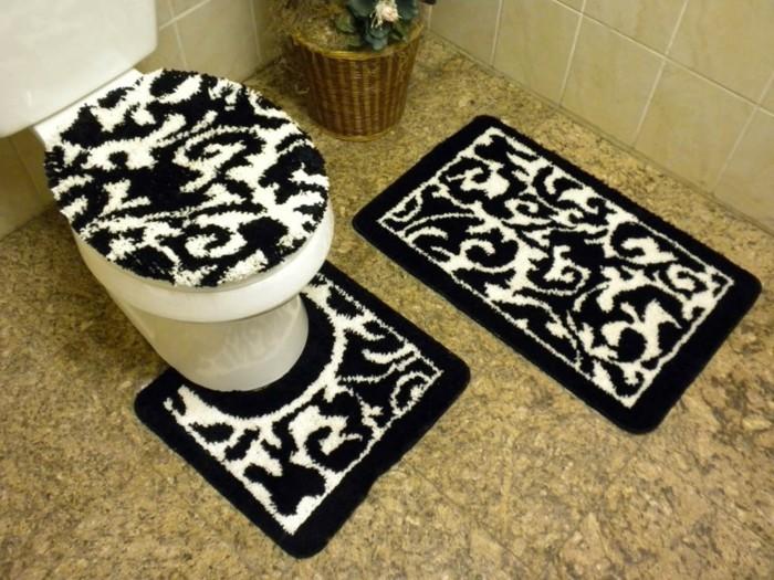 Tapis de bain antid parant - Tapis salle de bain noir et blanc ...