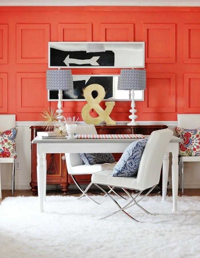 aménagement-couleur-corail-peinture-photo-de-salon-chaise