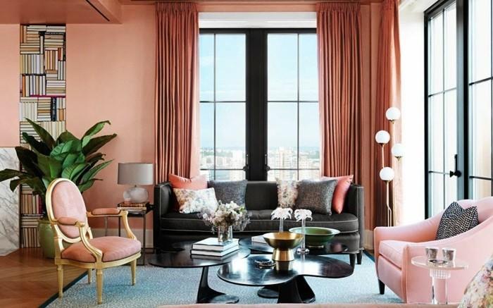 40 id es pour la d coration magnifique en couleur corail - Salon couleur chaude ...