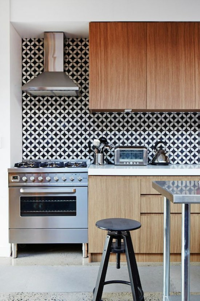 aménagement-cuisine-crédence-cuisine-crédence-de-cuisine-noir-et-blanc