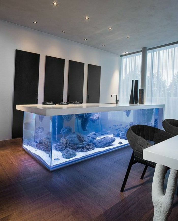 L aquarium mural en 41 images inspirantes for Idee cuisine amenagee pas cher