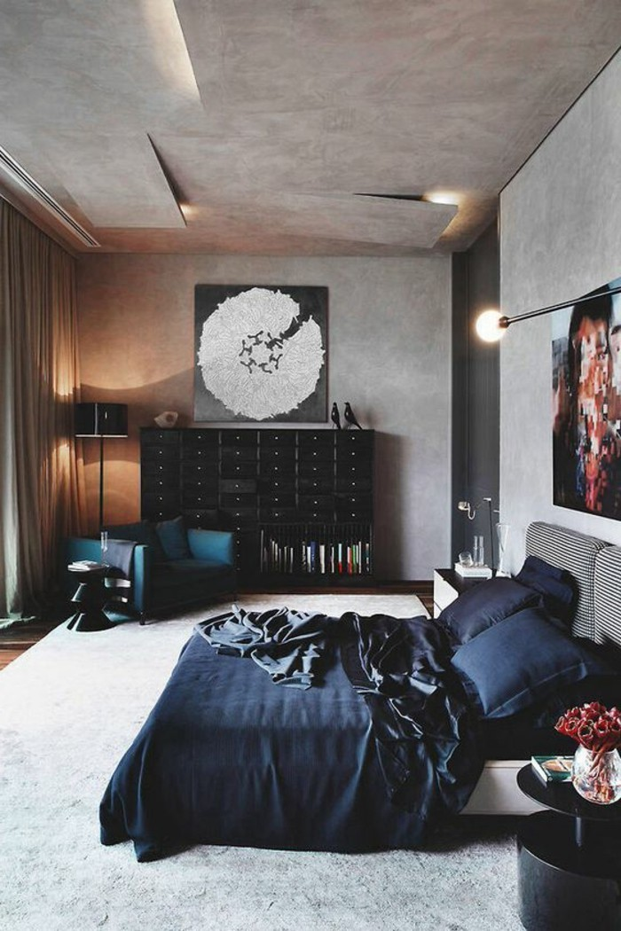 avec-quelle-couleur-associer-le-gris-beige-noir-moquette-gris-couverture-noire-sur-le-lit