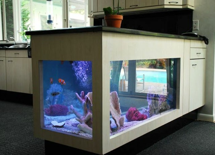 L aquarium mural en 41 images inspirantes - Meuble kitchenette pas cher ...