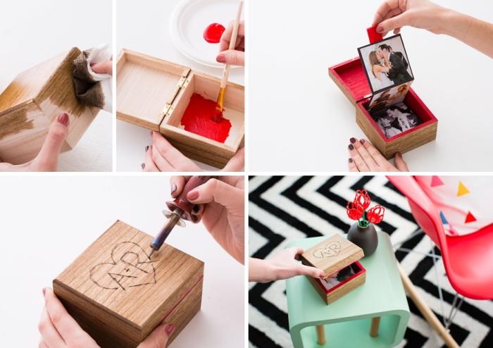 bricolage cadeau saint valentin couple boîte avec photos amour blanc et noir