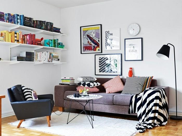 chaises-scandinaves-vintage-salon-scandinave-vintage-noir-et-blanc