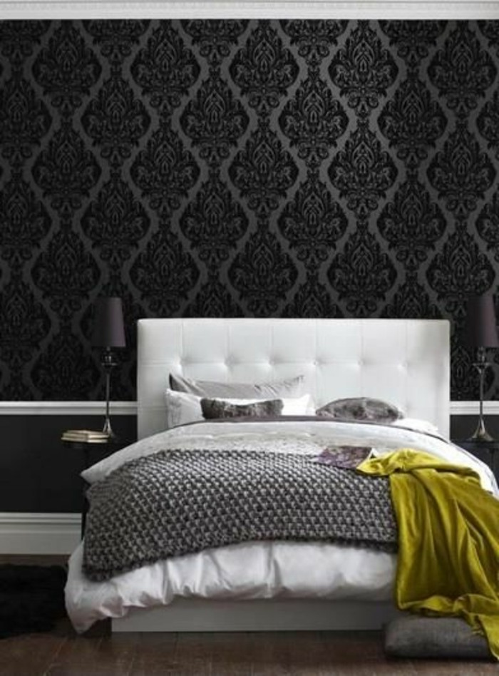 papier peint noir et blanc chambre avec des. Black Bedroom Furniture Sets. Home Design Ideas