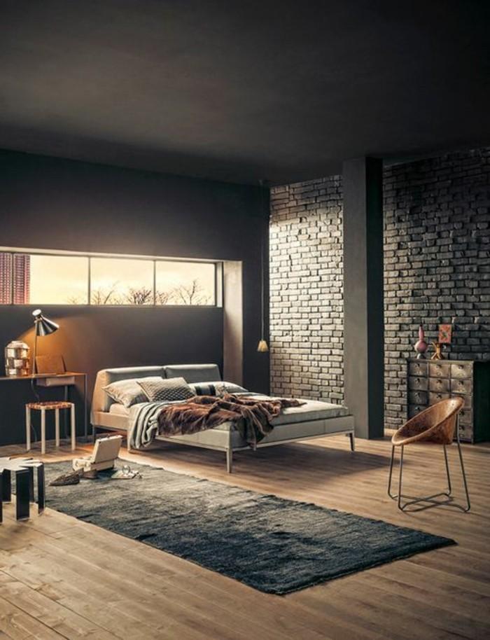 chambre-a-coucher-couleur-grège-murs-noirs-plafond-noir-sol-enbois