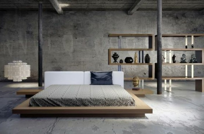 chambre-a-coucher-couleur-grège-sol-marbre-gris-lit-en-bois-interieur-gris-beige-noir
