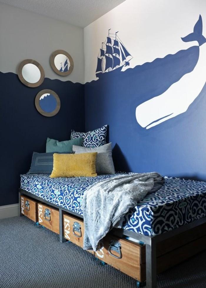 Les papiers peints design en 80 photos magnifiques - Chambre d enfant bleu ...