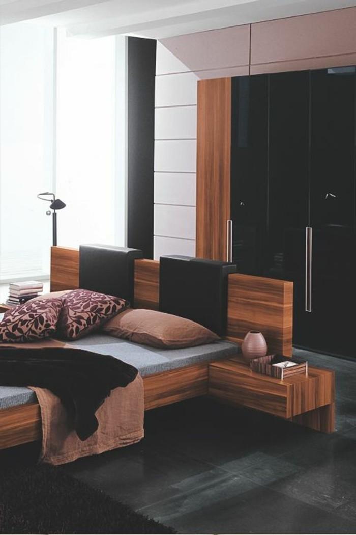chambre-a-coucher-de-luxe-gris-anthracite-couleur-grège-tapisserie-taupe-linge-de-lit=noir