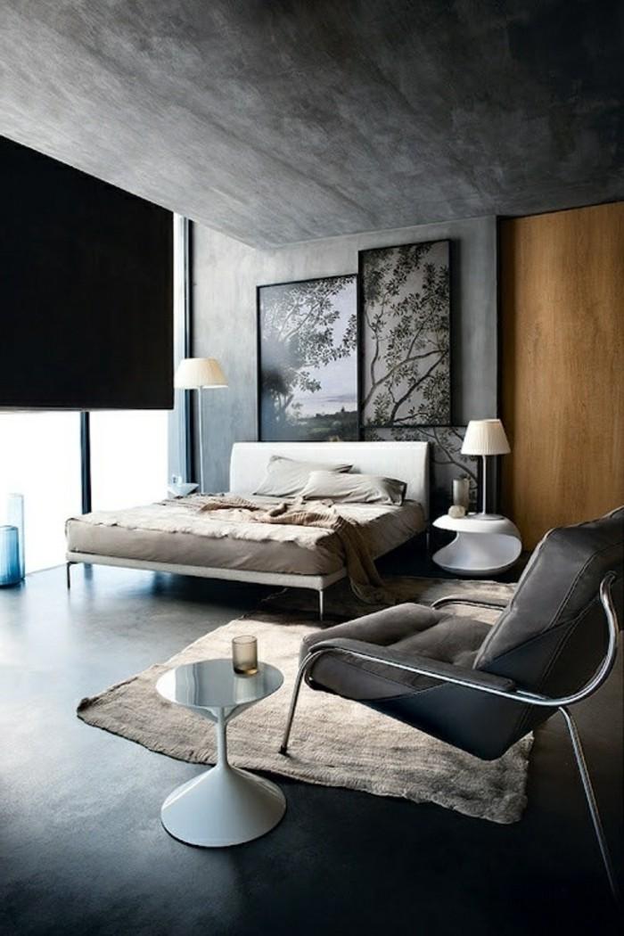 chambre-a-coucher-plan-de-travail-gris-anthrcite-mur-peinture-gris-foncé_-sol-noir