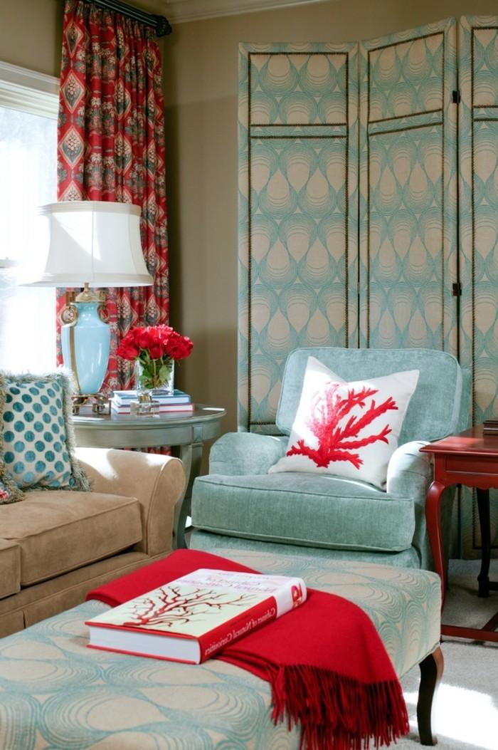 40 id es pour la d coration magnifique en couleur corail for Decoration salon bleu marine