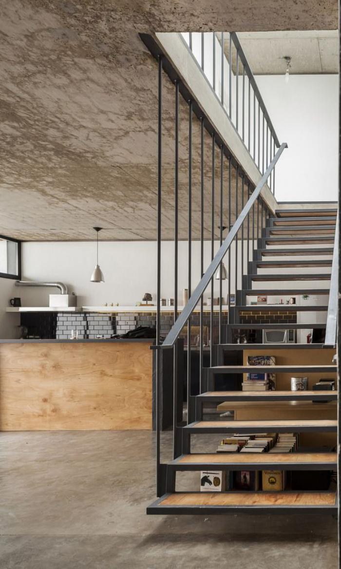 Designs d'escalier suspendu   le look du loft moderne