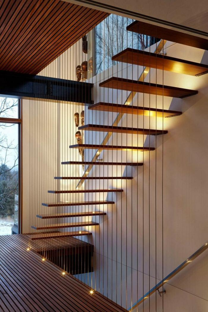 escalier suspendu, design descalier flottant dans une maison moderne