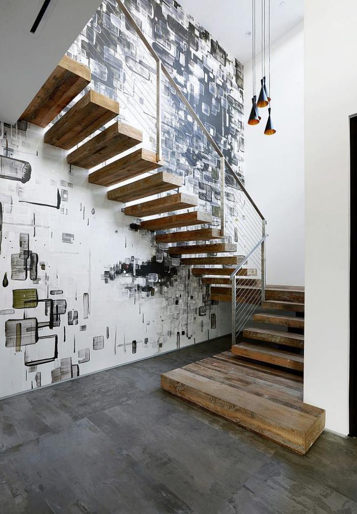 Designs d 39 escalier suspendu le look du loft moderne - Escalier fixe au mur ...