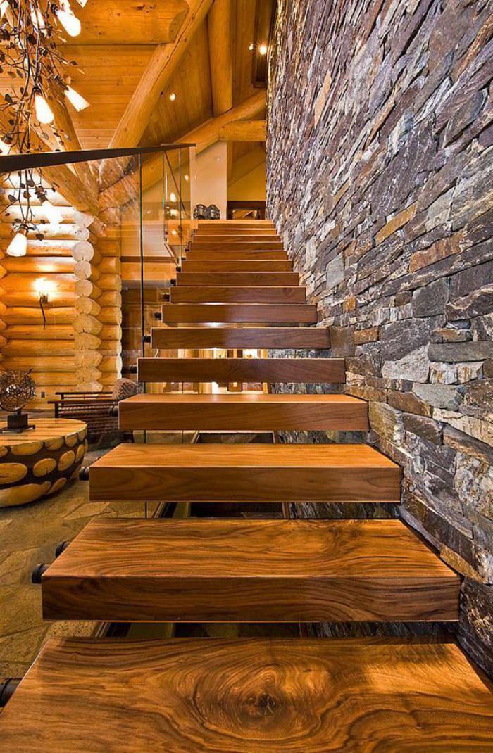 Escalier Bois Moderne : escalier-suspendu-en-bois-maison-rustique-moderne