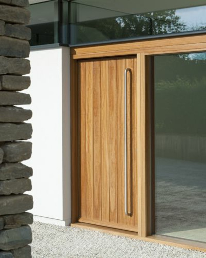 La porte d entr design en 40 photos for Porte exterieur en bois