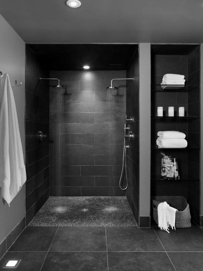 La beaut de la salle de bain noire en 44 images - Faience douche leroy merlin ...