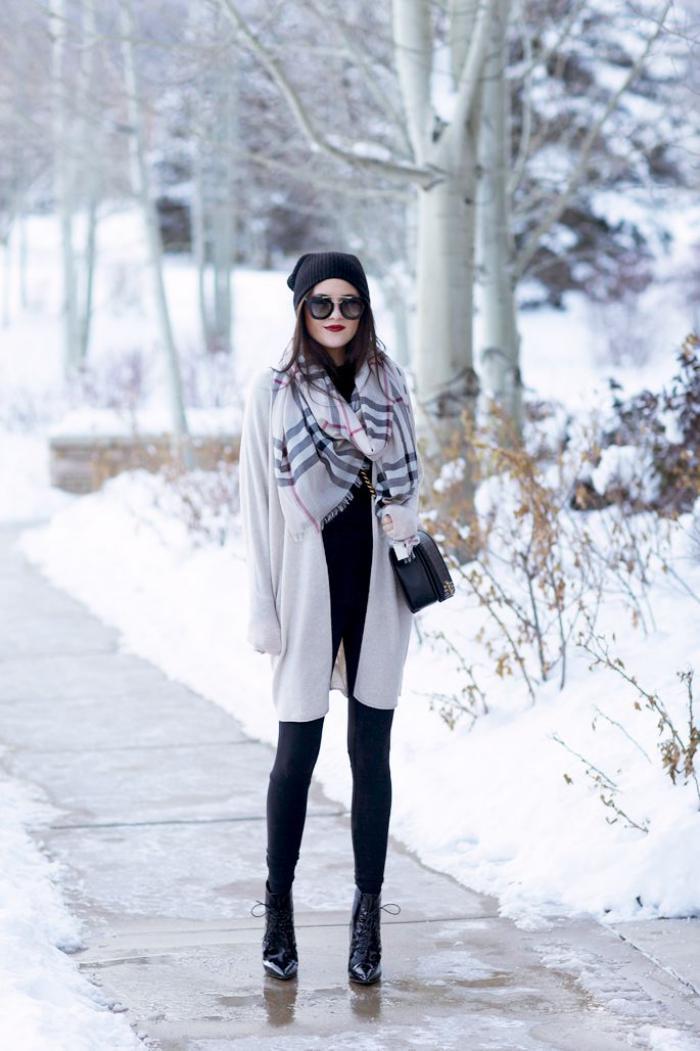 grosse-écharpe-écharpe-d'hiver-grise-carrés-ecossais