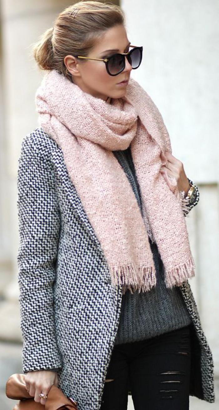 Gros echarpe femme echarpe en laine tricoter   Arts4a 305f9a9fe64