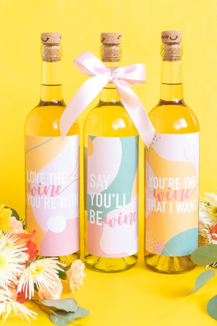 idée cadeau saint valentin femme surprise cadeau personnalisé bouteille de vin étiquette amour