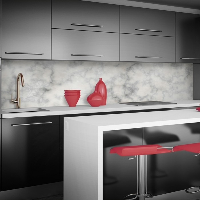 Interior of modern red kitchen. 3d render.