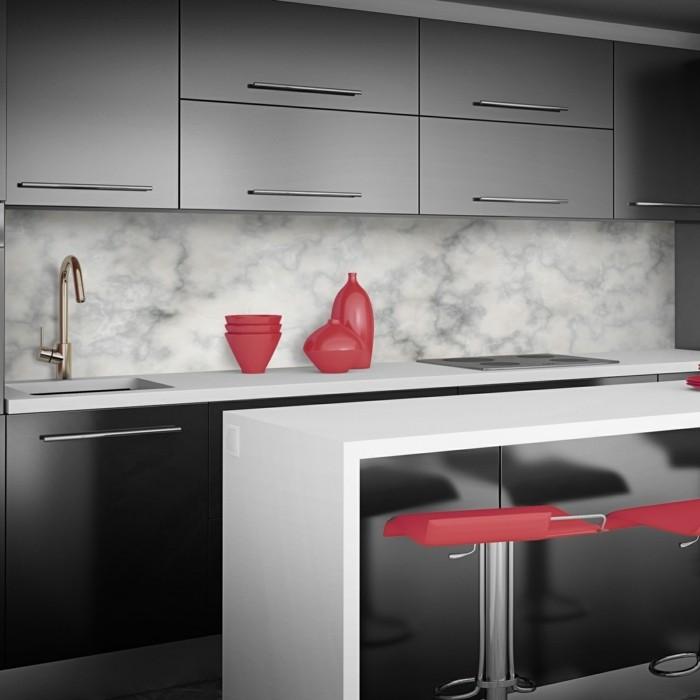 Interior of modern red kitchen. 3d render.