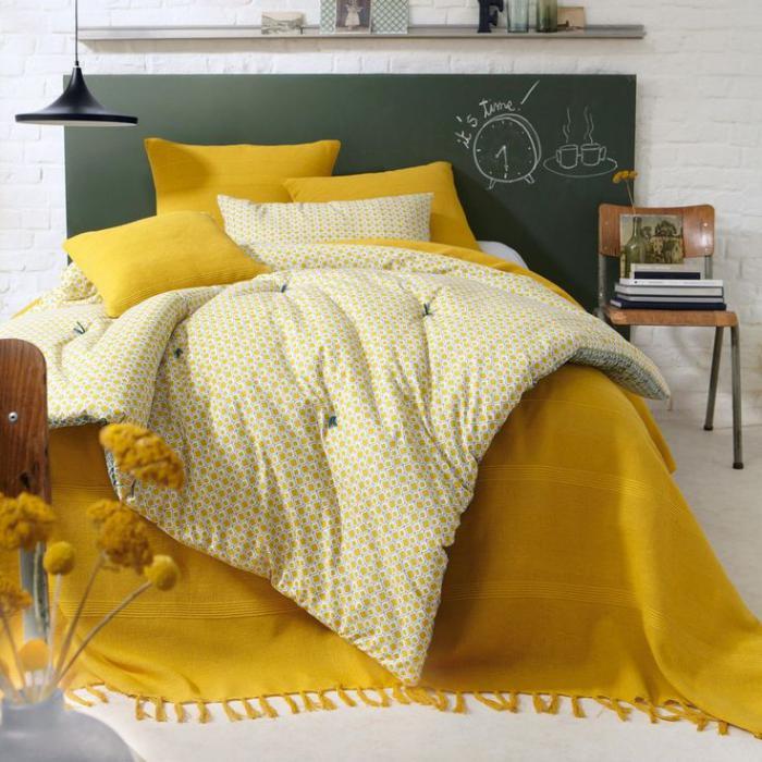 jeté-de-lit-jaune-vive-linge-de-lit-adulte