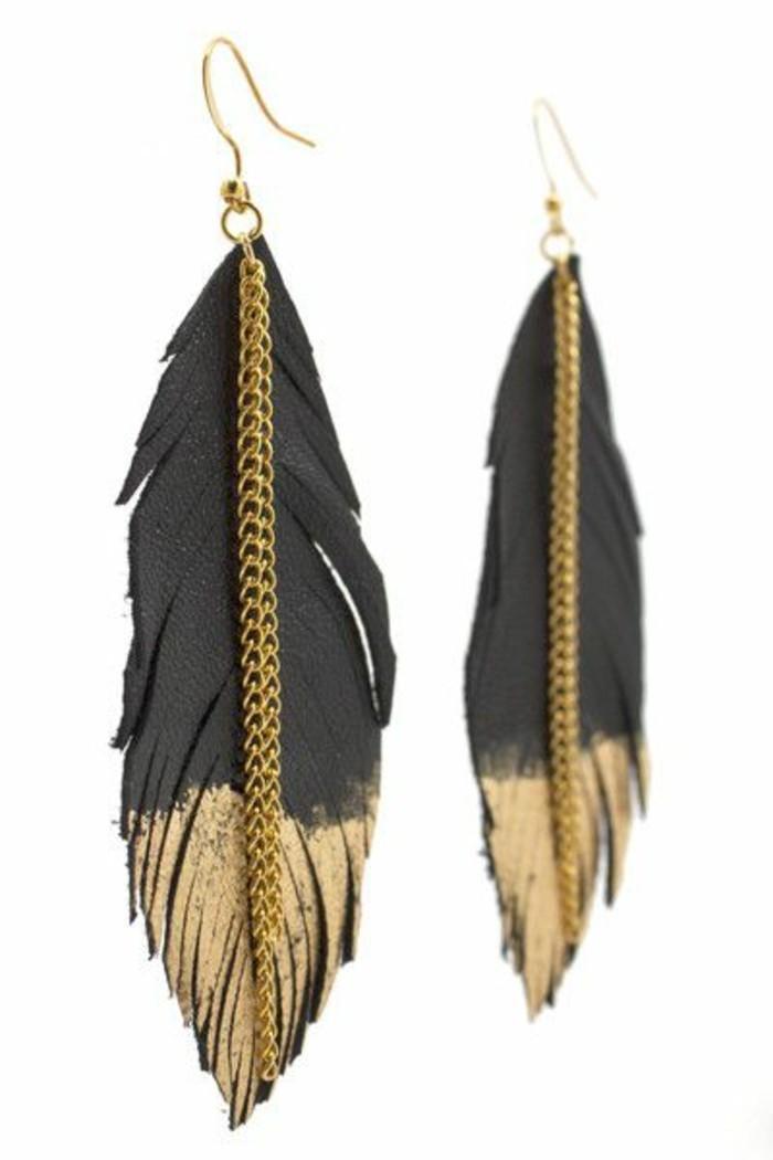 joli-boucle-d-oreille-pendante-plume-de-paon-en-or-et-noir-accessoire-femme