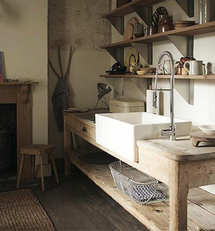 jolie-cuisine-rustique-avec-évier-leroy-merlin-évier-blanco-et-les-meubles-en-bois-clair