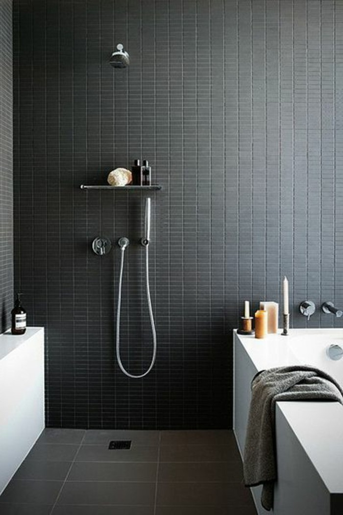 Le gris anthracite en 45 photos d 39 int rieur for Salle de bain avec carrelage gris anthracite