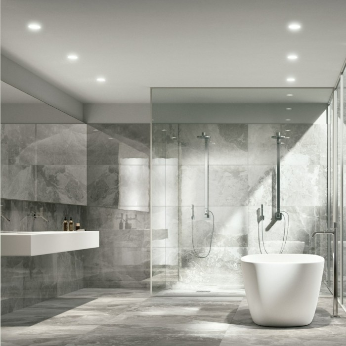 Le carrelage en marbre en 42 photos for Salle bain carrelage gris