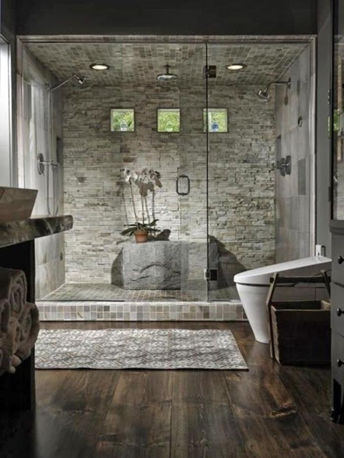 Salle De Bain Parquet Foncé : salle de bain de style rustique, comment relooker une salle de bain
