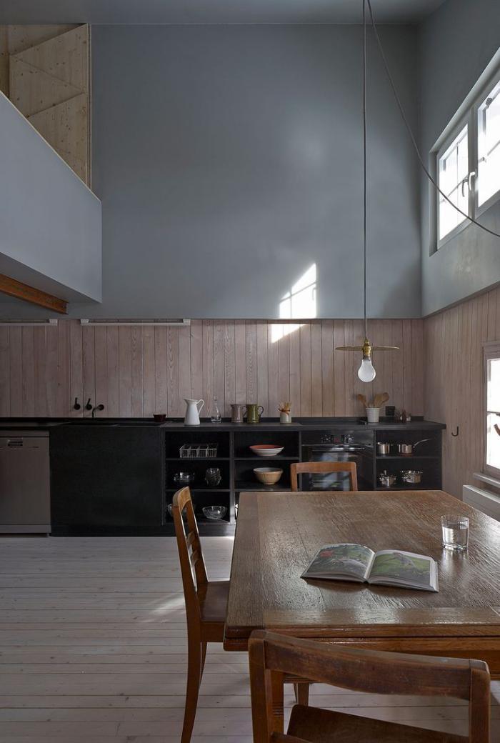Le lambris mural d coratif en 40 photos for Deco cuisine haut plafond