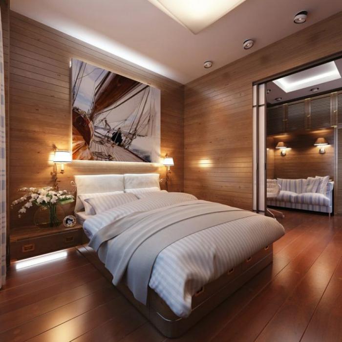 lambris-mural-lames-de-bois-chaleureuses-chambre-à-coucher-style-chalert