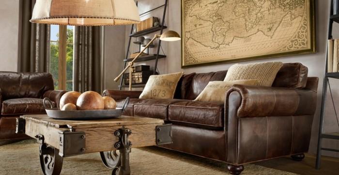 le-canape-scandinave-canape-vintage-marron-intérieur-cuir-brun