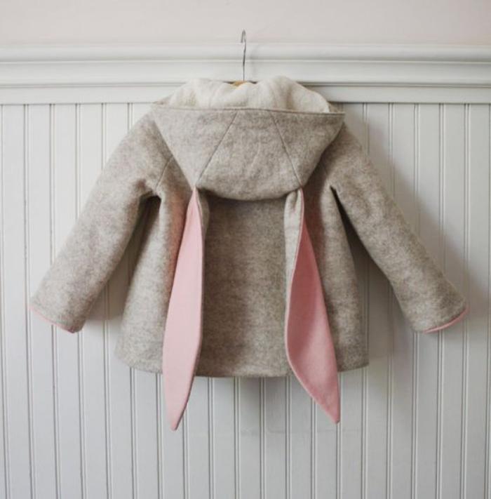 manteau-bébé-fille-gris-et-rose