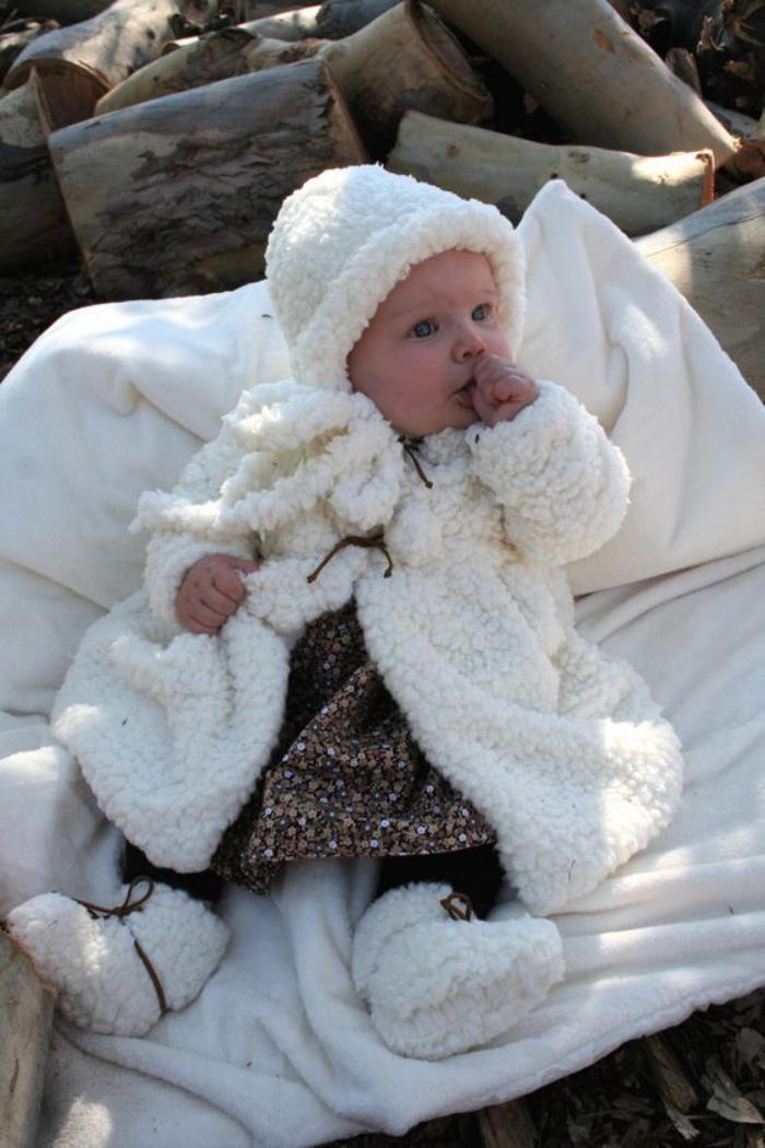 manteau-bébé-fille-fausse-fourrure-blanche