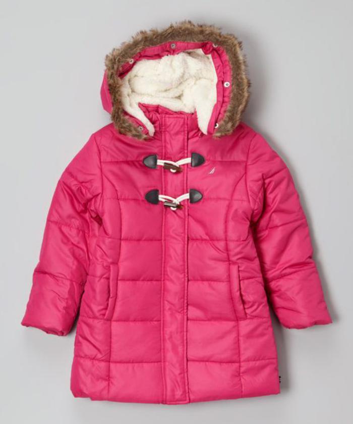 manteau-bébé-fille-manteau-rose-d'hiver