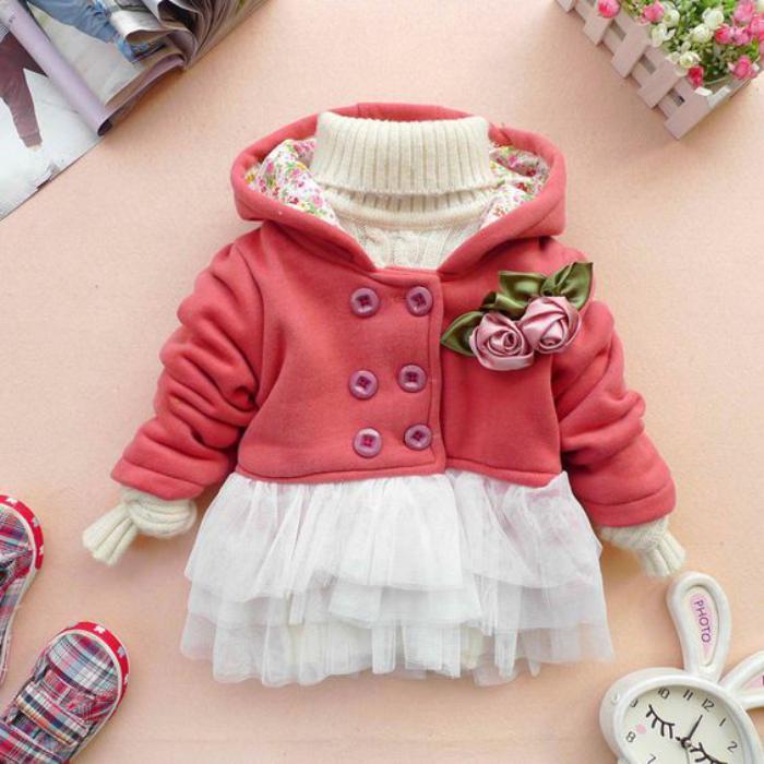 manteau-bébé-fille-rose-et-blanc