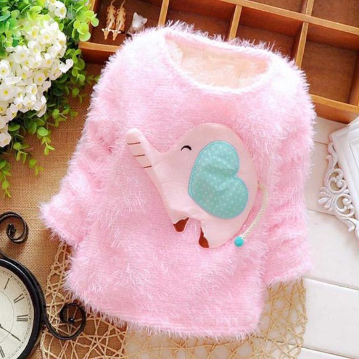 manteau-bébé-fille-rose-moelleux-avec-application-éléphant