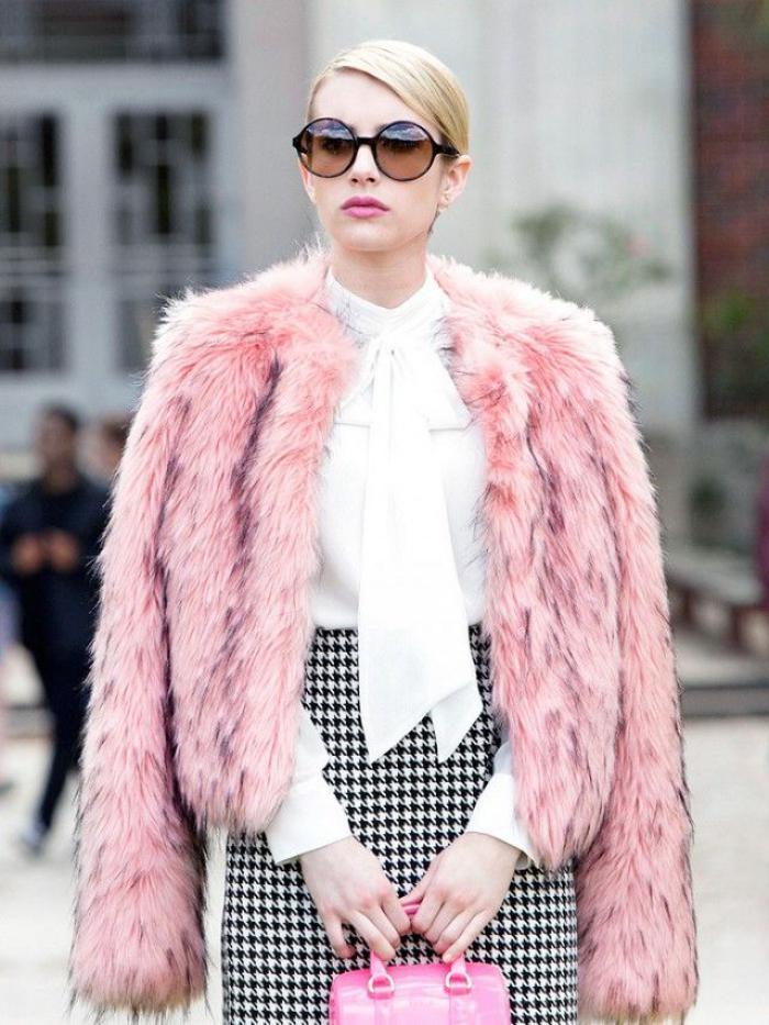 manteau-en-fausse-fourrure-rose-style-élégant-noir-et-blanc