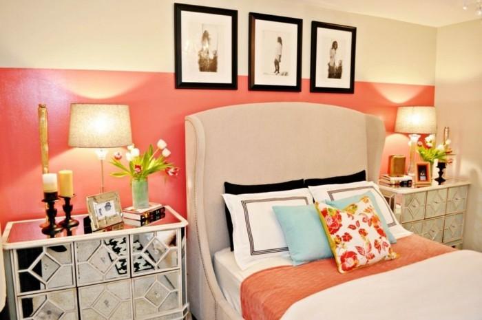 40 id es pour la d coration magnifique en couleur corail - Idee deco mur chambre ...