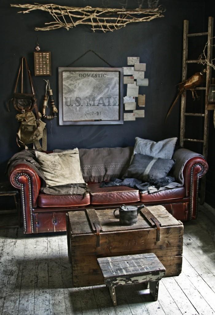 meuble-vintage-pas-cher-la-redoute-canape-design-brun-canapé-chesterfield-vintage