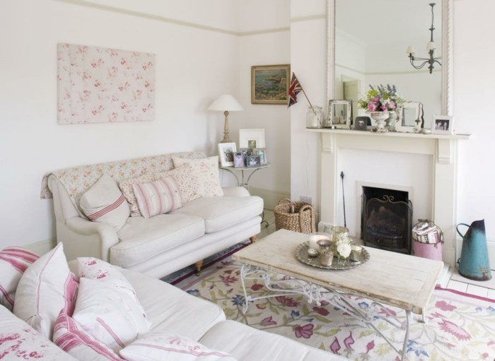 einrichtungstipps wohnzimmer shabby chic fotos: -gustaviens-tapisserie-kitch-dans-le-salon-moderne-deco-shabby-chic