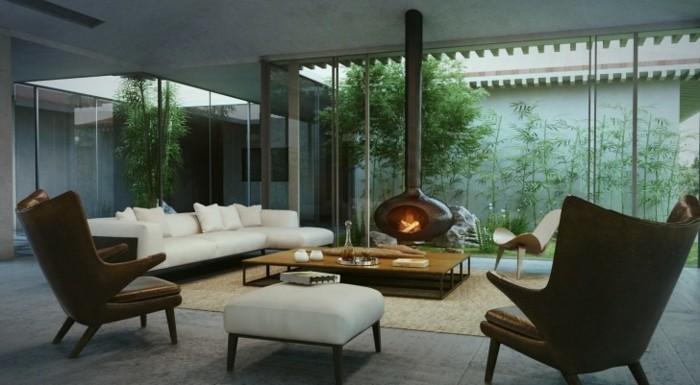 moderne-chouette-canape-vintag-chaises-vintage-siege-vintage-cheminée-centrale