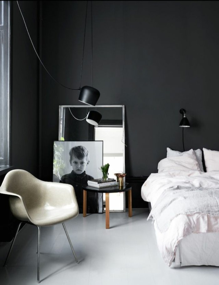Le gris anthracite en 45 photos d 39 int rieur - Chambre sol gris ...