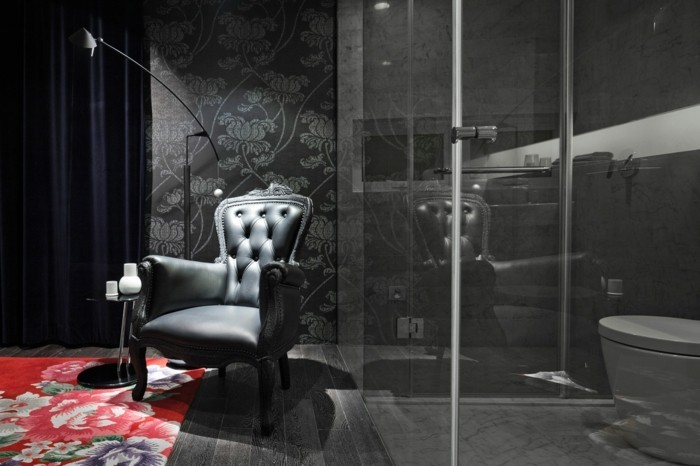 nos-idees-pour-faience-salle-de-bain-leroy-merlin-tapis-salle-de-bain-chaise-noire