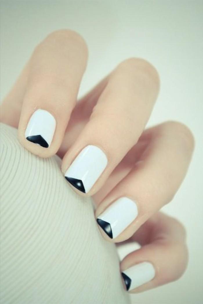 ongles-décorés-blanc-noir-pour-les-femmes-modernes-diy-idees-idee-deco-ongle