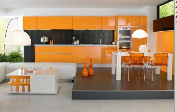 orange-design-formidable-amenagement-petit-espace-petite-cuisine-ouverte